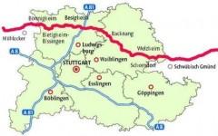 Pipelineverlauf in der Region Stuttgart
